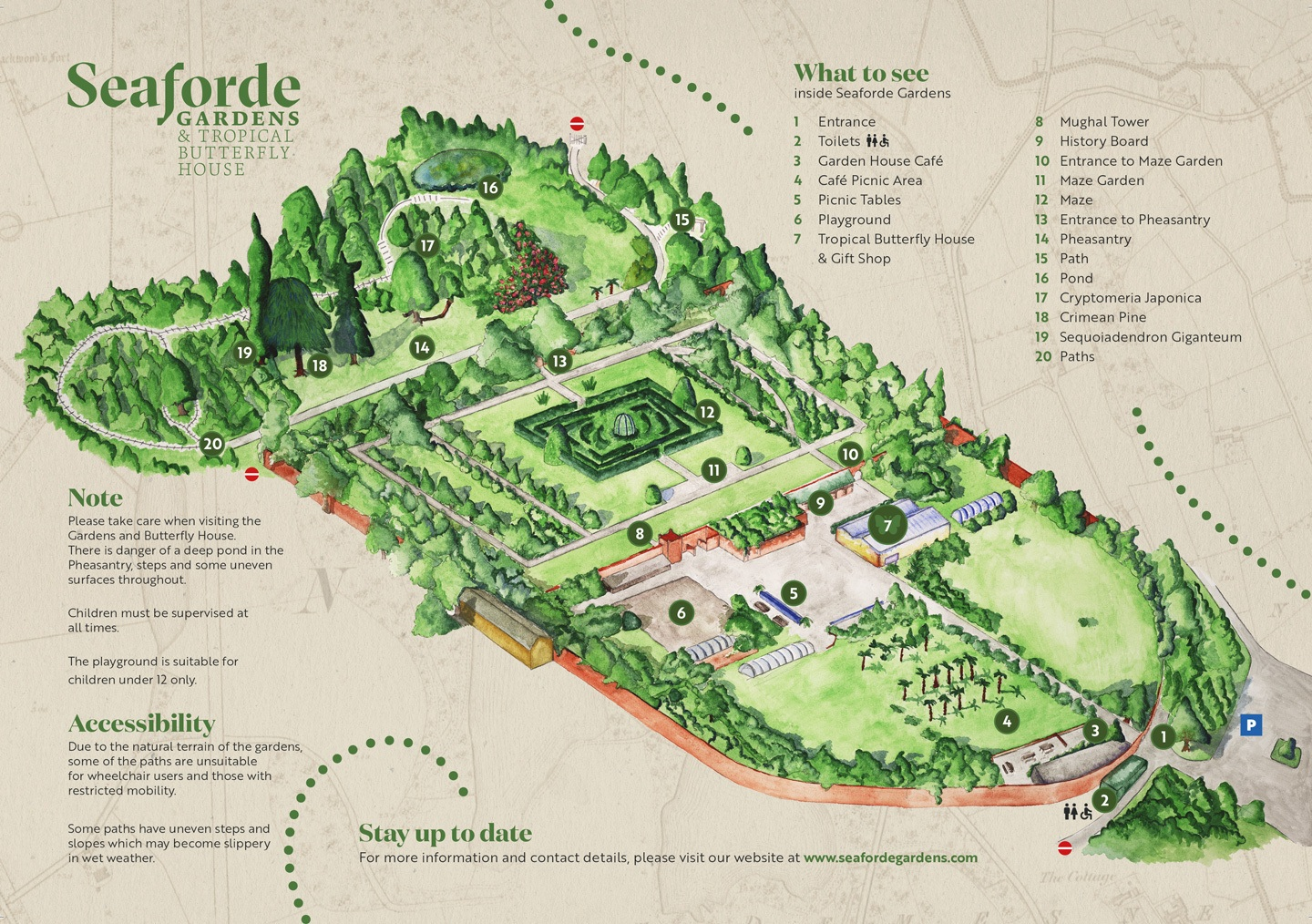 Map of Seaforde Gardens and Tropical Butterfly House